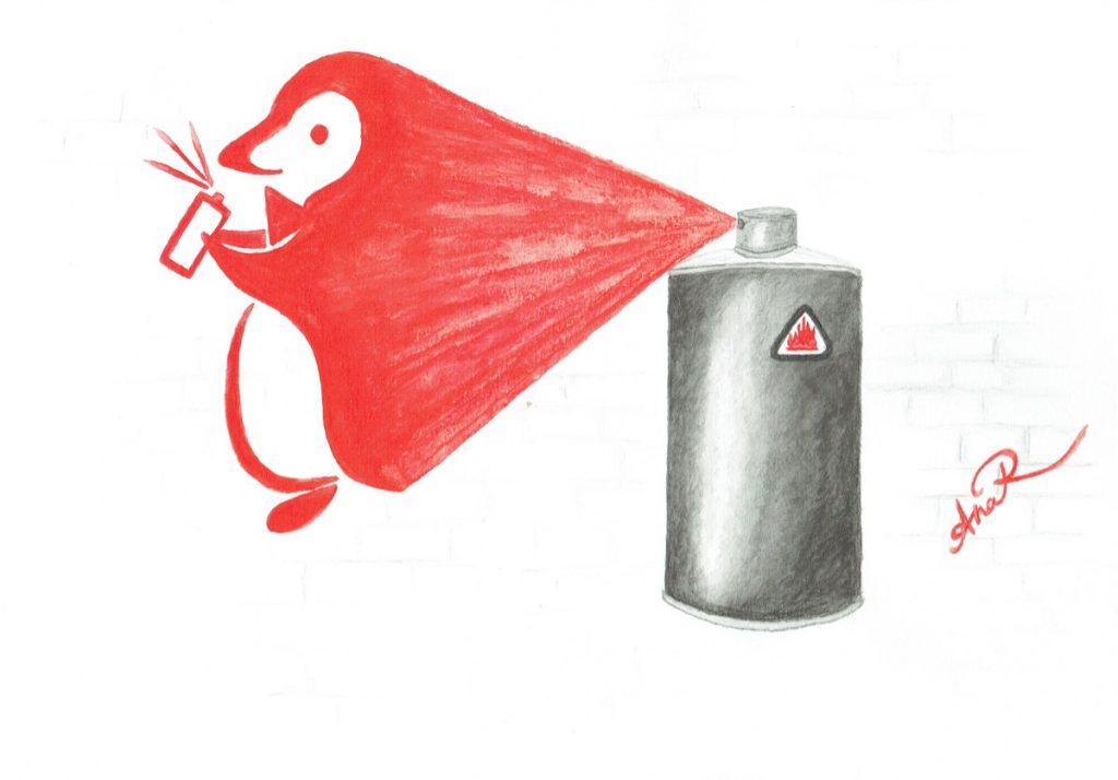 Bombe à taguer et graffiti du logo
