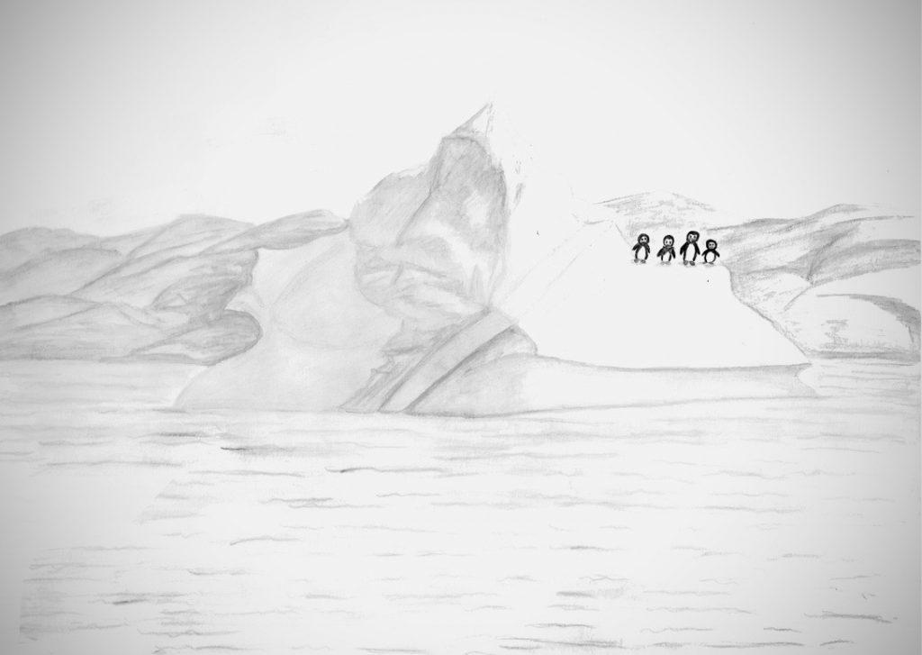 Pingouins à la dérive sur iceberg